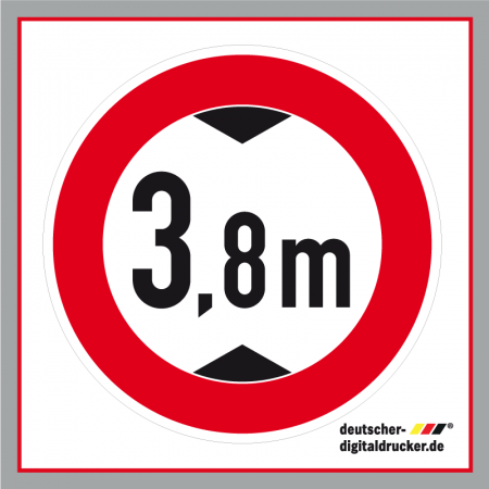 Durchfahrtshöhe 3,8m, Verkehrsschild