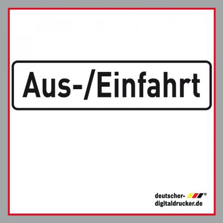 Aus-/Einfahrt weiß Verkehrsschild / Verkehrszeichen