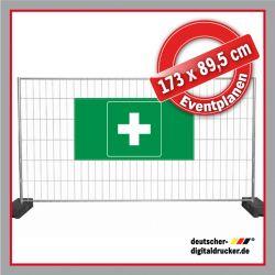 Bauzaunplane, Eventplane, Erste Hilfe Kreuz, Notausgang, Exit, Kennzeichnungsplane, Veranstaltungsbanner