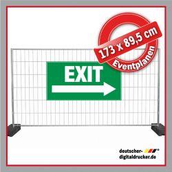 Bauzaunplane, Eventplane, Erste Hilfe Kreuz, Notausgang, Exit, Kennzeichnungsplane, Veranstaltungsbanner, Exit Kennzeichnung