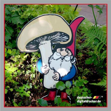 Zwerg mit Pilz, Dekofigur, Gartendeko, Gartenfigur