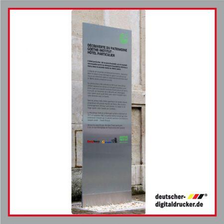 Stele aus Aluminiumgebürstet, Edel, Standschild, Infotafel, Stehende Tafel, Stehendes Schild