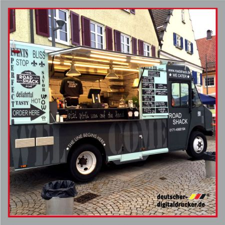 Verkaufsmobil, Food Truck, Truck, Beschriftung, Vollverklebung, Verkaufswagen, Bäckermobil, Essen auf Rädern