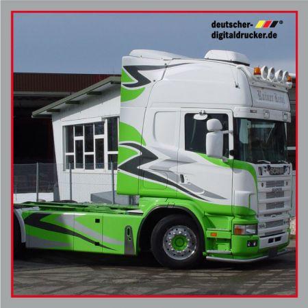LKW Beschriftung, LKW Beklebung, Führerhaus Vollverklebung, Designfolierung, Schausteller Lastwagen
