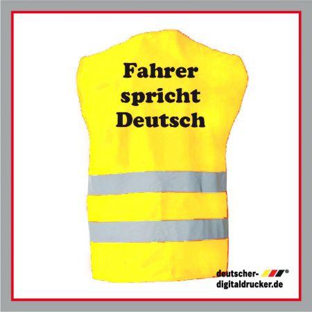 Warnweste bedruckt, bedruckte Warnweste, Deutsch Warnweste, gelbe Warnweste, individuelle Warnweste.