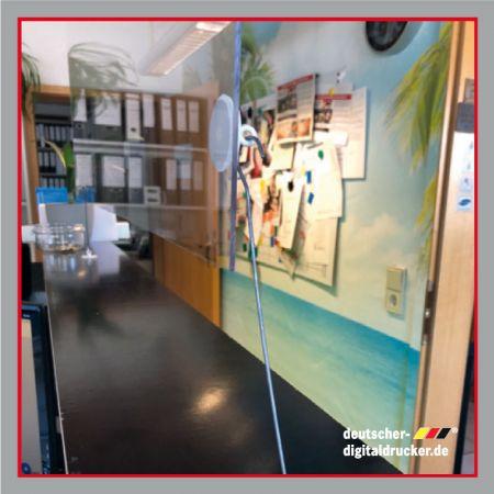 Hygieneschutz transparent, Transparenter Hygieneschutz, Glasscheibe, Spritzschutz, Acrylglasscheibe, Deckenabhänger transparent