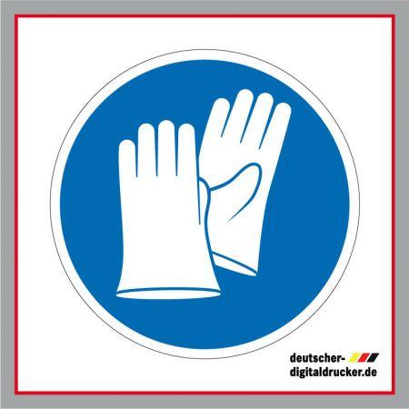 Schutzhandschuhe tragen, Baustellensicherung, Baustellenschilder, Hinweissschilder, Baustellenhinweis