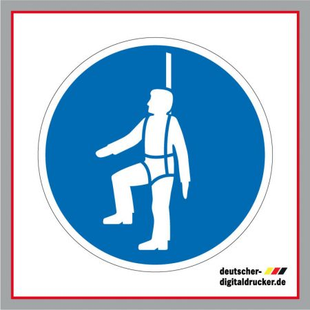 PSA zur Absturzsicherung benutzen, Baustellensicherung, Baustellenschilder, Hinweissschilder, Baustellenhinweis