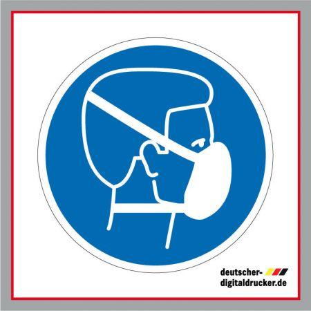 Staubschutzmaske benutzen Feinstaub vermeiden, Baustellensicherung, Baustellenschilder, Hinweissschilder, Baustellenhinweis