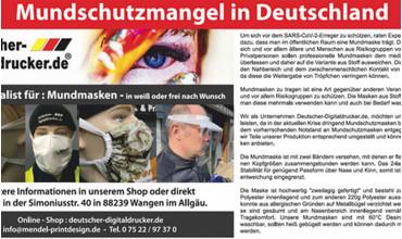 Mundschutzmangel in Deutschland